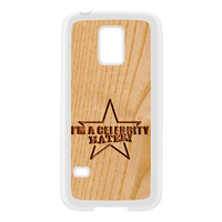 Carved on Wood Effect_Celebrity Hater White Silicon Rubber Case for Galaxy S5 Mini by Chargrilled