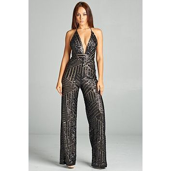 V-Neck Sequin Jumpsuit