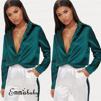 Fashion Women's Ladies V Neck Long Sleeve Loose Blouse Satin Casual Shirt Tops
