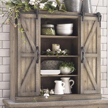 Vintage Distressed Refined Farmhouse Rolling Door Cabinet -- Metal and Fir Wood 34 x 33-in
