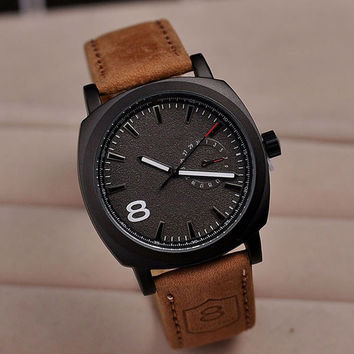 Men's Sport Military Quartz Black Leather Watch Strap