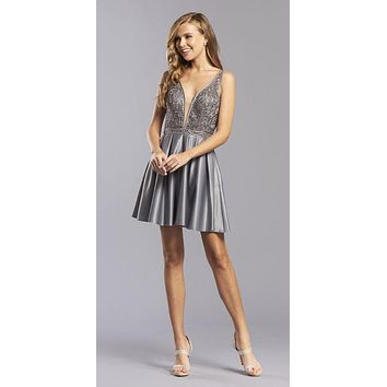 Open-Back Charcoal Short Homecoming Dress Embroidered