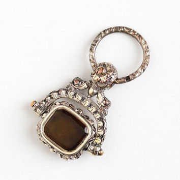 Antique Silver Spinner Fob - Vintage Late Georgian Early Victorian Brown Glass Rare Flower Leaf Repousse Pocket Watch Fob Jewelry