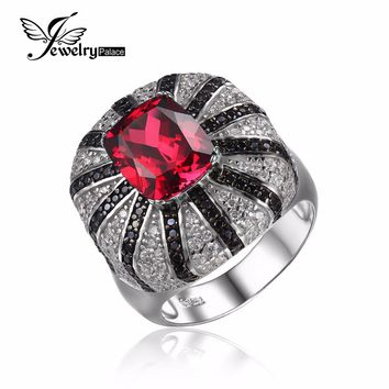 JewelryPalace 6ct Pigeon Blood Created Ruby Ring Wedding Set Real Pure 925 Solid Sterling Silver Emerald Cut High Quality Gift