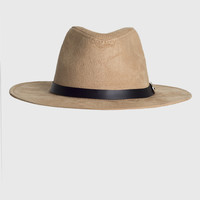 Camel Fedora Hat with Black Band Strap