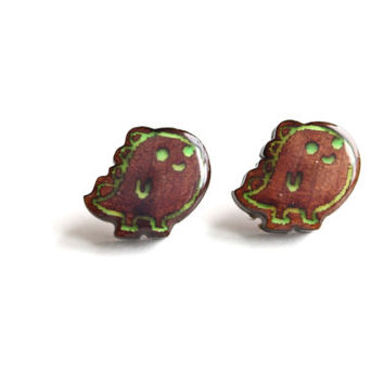 Handmade Glow in the Dark Wooden Cute Monster Earrings. Adorable Animal Glowing Earrings. Girls Stud Earrings.