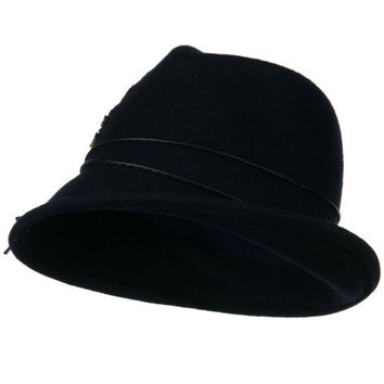 Feather and String Band Wool Felt Fedora Hat - Navy OSFM