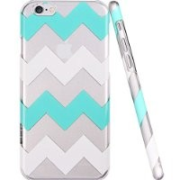 iPhone 6 Case, iPhone 6 Clear Case, ESR Beat Series iPhone 6 Chevron Case Hard Back Cover with Mint and White Wave Pattern for iPhone 6 (Green Chevron)