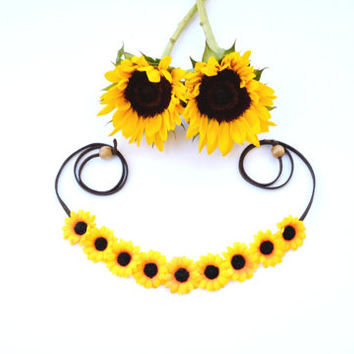 Sunflower Flower Crown Sun Flower Halo Floral Crown Sunflower Headband Flower Headband Bohemian Yellow Floral Headwrap Sunflower Headpiece