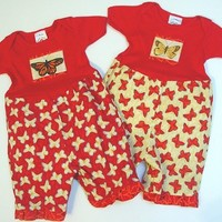 Twin Baby Girls Rompers Red/Yellow Butterfly by berrypatchusa