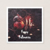 Rustic Halloween Pumpkin and Candles Napkin