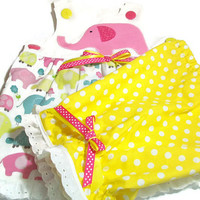 Baby Girl Clothes -  Girl Summer Clothes - Baby Girl sun Top and pantaloons - Baby Girl Outfit - Elephants