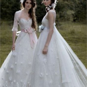 A-line strapless v-neck with jacket white tulle wedding dresses PWD181