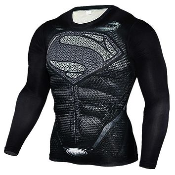 New 2017 Fitness MMA Compression Shirt Men Long Sleeve Superman 3D Printed T-shirt Superhero Brand Clothing Marvel T shirts Tops