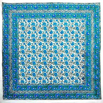 Hand Block Print Cotton Eternal Floral Tablecloth Square 60 x 60 inches Blue Green