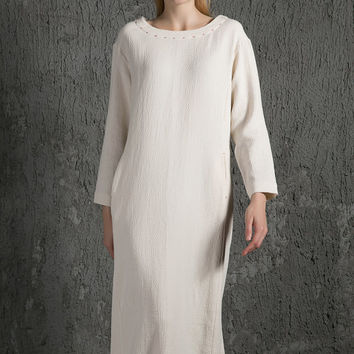 Lovely cream White Linen Maxi Dress C628