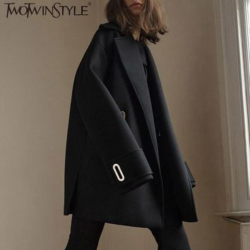 TWOTWINSTYLE Wool Coat Female Autumn Winter Jacket Women Long Sleeve Lace up Black Overcoat Casual Clothes Korean Big Sizes 2017