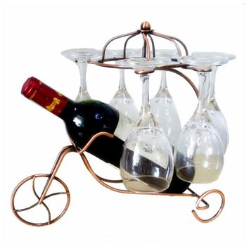 Freestanding Scrollwork Bronze Metal 1 Wine Bottles / 6 Wine Glass Stemware Storage Display Rack Stand