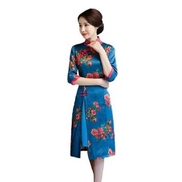 Handmade Button Vintage Chinese Women Dress Elegant Female Cheongsam Half Sleeve Printed Rayon Mandarin Collar Qipao M-XXXL
