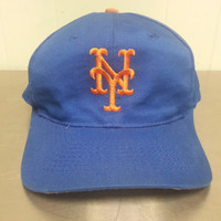 Vintage 90's New York Mets Snapback Hat Plain Blue Orange Logo Athletic Baseball MLB Professional Team Hat