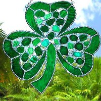 "Irish Shamrock Suncatcher - St. Patrick's Day Sun Catcher- 8 1/2"" x 8 1/2"""