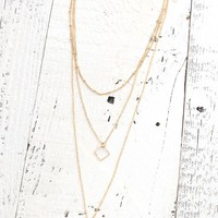 With Love From CA Three Row Drop Necklace - Womens Jewelry - Gold - One
