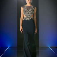 Designer Embellished Boat Neck Cut Out Long Gown in Black, Navy and Off White