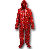 Iron Man Images and Logo Footed Hooded Pajamas