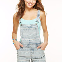 Aztec Print Shortalls - Light Blue