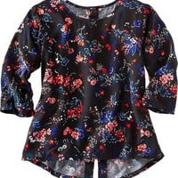 Old Navy Girls Floral Print Button Back Top