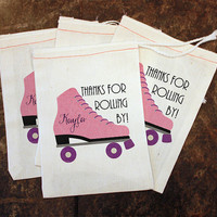 Rollerskating Party Favor - Girls Roller Skate Goody Bag / Rollerskating Birthday Candy Bag / 5x7 Muslin Bag Custom / Rollerskate Gift Bag