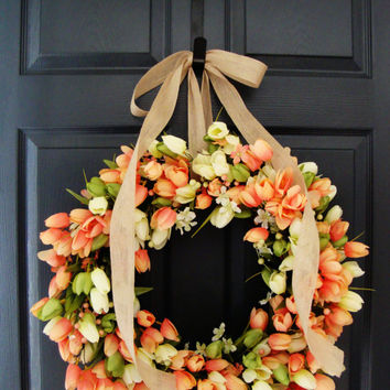 Tulip Spring Wreaths, Spring Tulip Front Door Wreaths, Spring Wreaths, Door Wreath, Wreaths, Wreaths, Door Decorations, Easter Wreaths Etsy