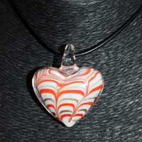 Murano Glass Heart (White, Orange/Coral, Gold) Pendant Necklace