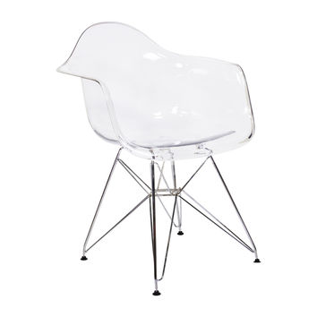 Ethan Mid Century Modern Clear Arm Chair with Metal Base