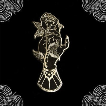 Mourning Hand hard enamel pin gold