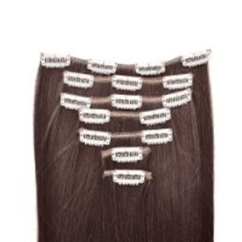 "15"" 18"" 20"" 22"" Remy (Remi) Human Hair Straight Clip in Extensions All Colors for Your Choose 7 Pieces(pcs) [Set Weight:70-80 Grams] (20"", #1B Natural Black)"