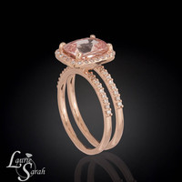 Whisper Pink Sapphire Engagement Ring and Wedding Set With Diamond Wedding Band - LS2896