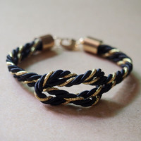 Mens Rope Bracelet, Gold plated to pure copper, Black & Gold Silk Rope, Best Gift for Him for Father