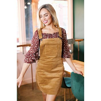 Delia Corduroy Overall Dress, Walnut