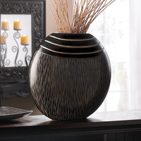 Tribal Design Black Wooden Decorative Vase