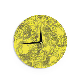 "Patternmuse ""Mandala Lemon"" Yellow Wall Clock"