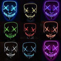 Halloween Mask LED Light Mask Funny For Decoration Party Supplies Mask Christmas Cold Neon Light Mask for New Year Cosplay Glow