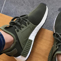 ADIDAS Net surface knitting leisure men's shoes comfortable shoes breathable shock running shoes Army green
