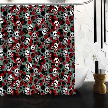 Flowers Sugar Skull Shower Curtain Custom Bath Curtains Bathroom decor
