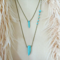 Turquoise Tusk and Talon Necklace - Layering Necklaces - Boho Modern Jewlery
