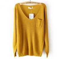 DEEP V COLLAR SWEATER FOR GIRLS yellow