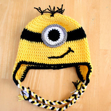 Yellow Minion Hat, One Eyed Minion hat, crochet earflap hat, yellow black and white, Halloween costume, Newborn to 12 month sizes