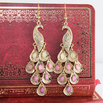 Pink Peacock earrings vintage style by BeautyandLuck
