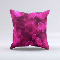 Glowing Pink Outlined Hearts ink-Fuzed Decorative Throw Pillow