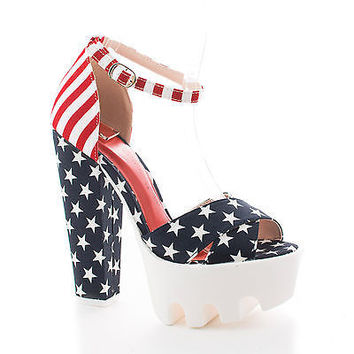 Vive22 American Flag by Wild Diva, American Flag Peep Toe Ankle Cuff Lug sole Platform Chunky Heels